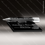 Crystal Black Accented Pencil Trophy Award on Black Glass Base Trophy Award Black Accented Crystal Awards