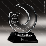 Crystal Black Accented Endless Possibilities Wave Fan Trophy Award Black Accented Crystal Awards