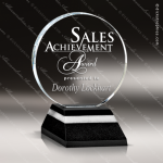 Crystal Black Accented Optica Circle Disk Trophy Award Black Accented Crystal Awards