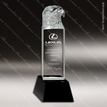 Crystal Black Accented Eagle Tower Trophy Award Black Accented Crystal Awards