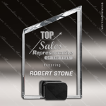 Crystal Black Accented Peak Block Base Trophy Award Black Accented Crystal Awards