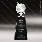 Crystal Black Accented Spinning World Globe Trophy Award Black Accented Crystal Awards
