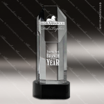 Crystal Black Accented Octagon Pillar Trophy Award Black Accented Crystal Awards