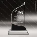 Crystal Black Accented Wave Trophy Award Black Accented Crystal Awards