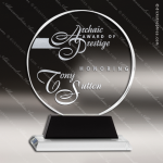 Crystal Black Accented Circle Round Trophy Award Black Accented Crystal Awards