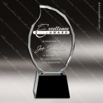 Crystal Black Accented Faceted Flame Trophy Award Black Accented Crystal Awards