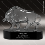 Crystal Black Accented Bull Trophy Award Black Accented Crystal Awards