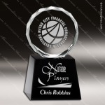 Crystal Black Accented Circle Diamond Edge Trophy Award Black Accented Crystal Awards