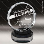 Crystal Black Accented Modern Round Circle Trophy Award Black Accented Crystal Awards