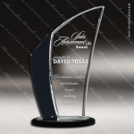 Crystal Black Accented Swirl Wave Fan Trophy Award Black Accented Crystal Awards