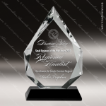 Crystal Black  Accented Diamond Trophy Award Black Accented Crystal Awards