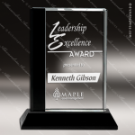 Crystal Black  Accented Rectangle Trophy Award Black Accented Crystal Awards