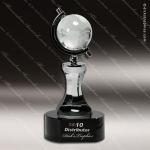 Crystal Black Accented Globe In Semi-Meridian Holder Trophy Award Black Accented Crystal Awards