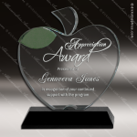 Crystal Black Accented Apple Green Leaf Scholastic Trophy Award Black Accented Crystal Awards