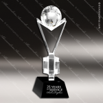 Crystal Black Accented Globe Trophy Award Black Accented Crystal Awards