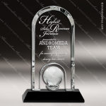 Crystal Black Accented Globe Dome Trophy Award Black Accented Crystal Awards