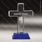 Crystal Blue Accented Religious Cross Trophy Award Black Accented Crystal Awards