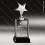Crystal Black Accented Silver Star Trophy Award Black Accented Crystal Awards