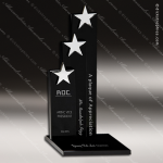 Crystal Black Accented Triple Star Trophy Award Black Accented Crystal Awards