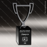 Crystal Black Accented Winner's Cup Trophy Award Black Accented Crystal Awards