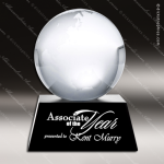 Crystal Black Accented Globe Black Aluminum Base Trophy Award Black Accented Crystal Awards