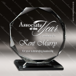Glass Black Accented Octagon Inclination Trophy Award Black Accented Glass Awards