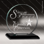 Glass Black Accented Circle Natrona Trophy Award Black Accented Glass Awards