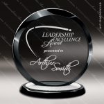 Glass Black Accented Circle Corona I Trophy Award Black Accented Glass Awards