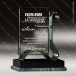 Glass Black Accented Rectangle Embracer Trophy Award Black Accented Glass Awards