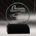 Glass Black Accented Circle Disco Trophy Award Black Accented Glass Awards