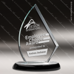 Glass Black Accented Flame Sail Emery Trophy Award Black Accented Glass Awards