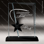 Glass Black Accented Rectangle Evening Star Trophy Award Black Accented Glass Awards