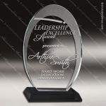 Jacqueline Glass Black Accented Oval Halo Circle Trophy Award Black Accented Glass Awards