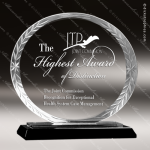 Jacobi Oval Glass Black Accented Round Facet Edge Trophy Award Black Accented Glass Awards