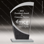 Jacmel Wave Glass Black Accented Designer Trophy Award Black Accented Glass Awards