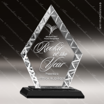 Jacobi Diamond Glass Black Accented Facet Edge Trophy Award Black Accented Glass Awards