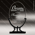 Jaeger Oval Glass Black Accented Vintage Stand Trophy Award Black Accented Glass Awards