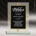 Jadeite Plaque Glass Black Accented Contemporary 4-Point Trophy Award Black Accented Glass Awards