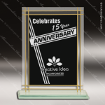 Jadeite Rectangle Glass Black Accented Contemporary Full Border Trophy Black Accented Glass Awards