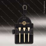 Embossed Etched Leather Golf Bag Tag with Wooden Tees -Black/Gold Black Gold Leather Items