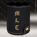 Embossed Etched Leather Dice Cup Set -Black/Gold Black Gold Leather Items