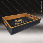 Embossed Etched Leather Serving Tray -Black/Gold Black Gold Leather Items