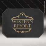 Embossed Etched Leather Placemat -Black/Gold Black Gold Leather Items