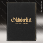 Embossed Etched Leather Passport Holder -Black/Gold Black Gold Leather Items