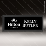 Laser Etched Engraved Black Name Badge Black Frame Magnet Backed Black Name Badges