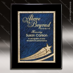 Engraved Black Piano Finish Plaque Blue Star Comet Wall Placard Award Black Piano Finish Plaques