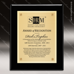 Engraved Black Piano Finish Plaque  Gold Plate - Style 2 Black Piano Finish Plaques