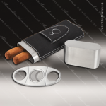 Embossed Etched Leather Cigar Case with Cutter -Black/Silver Black Silver Leather Items