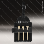 Embossed Etched Leather Golf Bag Tag with Wooden Tees -Black/Silver Black Silver Leather Items