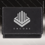 Embossed Etched Leather Trifold Wallet -Black/Silver Black Silver Leather Items
